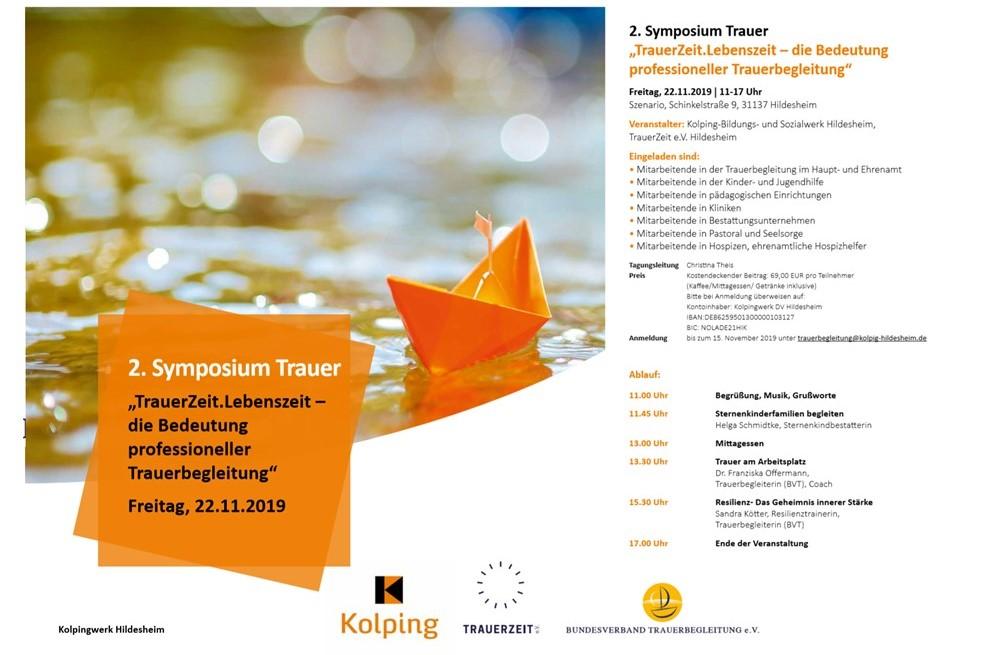 Einladung Symposium Trauer in Hildesheim, Vortrag Trauer am Arbeitsplatz